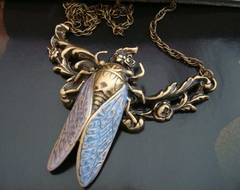 Cicada Bug Necklace With Iridescent Wings, Metal Bonded Together, NOT GLUED, USA, Original Design, Vintage Brass Ox Patina, Handcrafted