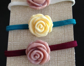 Assorted Cabochon Rose Flower Hair Ties