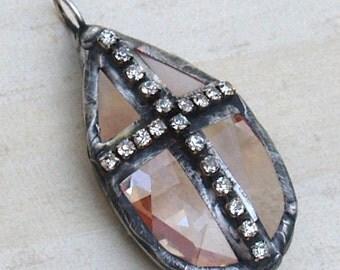 Soldered Crystal Pendant Chandelier Prism Rhinestone Cross Pendant Glass soldered pendant Bohemian Metalwork Metalsmith Altered Art