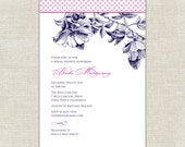 Navy and Pink Bridal Shower Invitations Southern Comfort Magnolia Dogwood Sketch Fuchsia Elegant Traditional Calligraphy Font Romantic