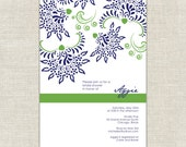 Navy & Green Bridal Shower invitaions, Navy Blue and Green invitations, Trendy Chic Stylish Bold Irish