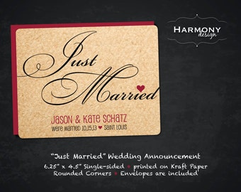 Just Married! Wedding Announcement, Single-sided on Craft paper with A6 envelopes - Set of 12