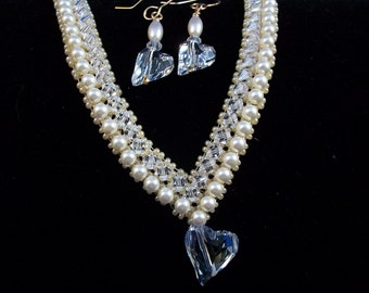 Crystal and Pearl Bridal Set (necklace & earrings)