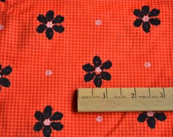 Vintage Fabric - Black Flocked Daisies on Orange Gingham - By the Yard