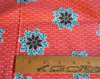 Vintage Fabric - Turquoise Flowers on Red - 35 x 59