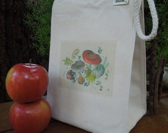 Recycled cotton lunch bag - Mushrooms