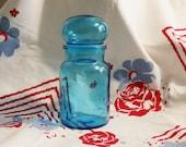 aqua blue apothecary jar belgium bubble lid vintage
