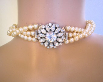 TWISTED PEARL Bridal Necklace, Vintage Bridal Jewelry, Pearl Wedding Necklace, Statement Bridal Jewelry, Pearl Choker, Pearl Necklace