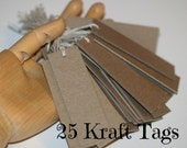 Thick Kraft Tags (25) ... Heavyweight Chipboard Tags Price Tags Blank Tags Labels Prestrung Tags Natural Cotton Twine Ties Seller Supplies