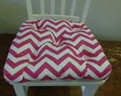 Small tufted chair seat cushion for children kids, candy pink and white chevron zig zag or choose other color