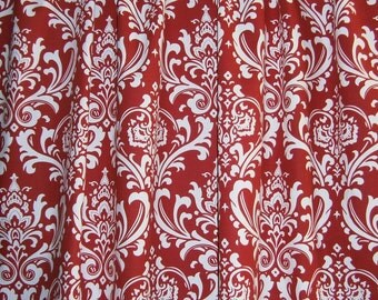 """RTS Ready to ship Designer fabric shower curtain, Ozborne damask red and white, 72"""" x 72L"""