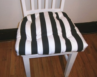 "Set of 2, 4, 6, 8 tufted chair pads, seat cushions, bar stool cushions, canopy 1.5"" stripe, black and white"
