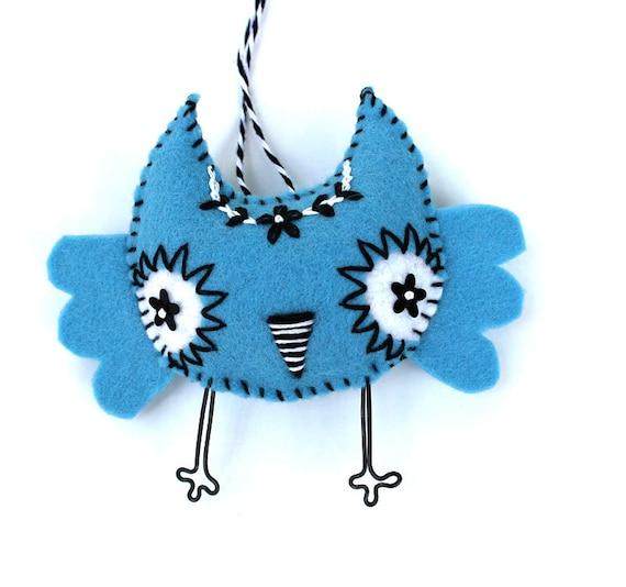 Felt Owl Ornament, handstiched aqua blue felt
