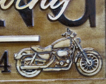 Personalized Motorcycle Wedding Gift Family Name Signs CARVED Custom Wooden Sign Last name Established Anniversary Harley Davidson Bike Sign