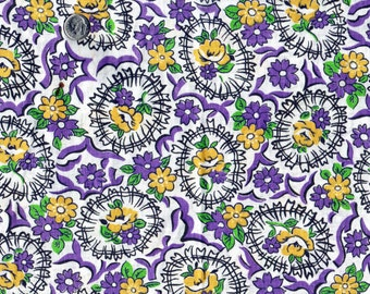 Vintage UNCUT Feedsack Cotton Quilting Fabric -  - STILLaSACK -  BEAUTIFUL Purple and Yellow Flowers  - 24 x 24
