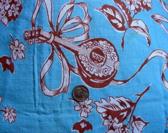 Vintage Novelty Feedsack Flour Sack Cotton Fabric //   Pretty Blue Background with White Mandolins  // 36 x 42