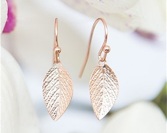 Delicate Rose Gold Leaf Earrings - Rose Gold earrings - Leaves earrings, Elegant earrings, Short earrings, Leaf jewelry, Under 25 jewelry