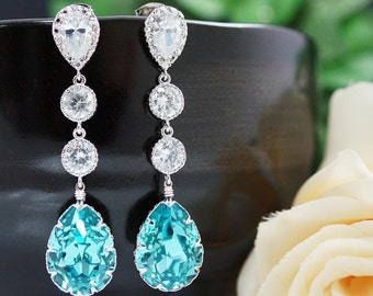 Wedding Bridal Jewelry Bridal Earrings Bridesmaids gift Dangle Earrings CZ connectors and Light Turquoise Swarovski tear drop (E-B-0047)