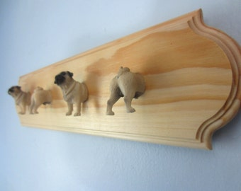 Upcycled Toy Wall Peg Rack with Pug Dog Clothes Hooks