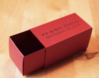 Custom Printed Favor Box,  2 Piece Slide Box,  Truffle/Caramels/Bon Bon - Metallic