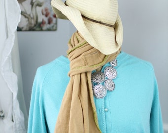 Lush, hand-crocheted scarves made from repurposed cashmere sweaters (in Camel)