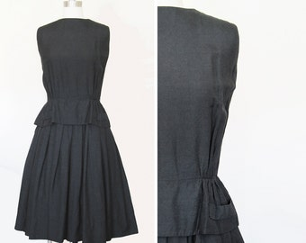 Vintage 50s Sleeveless Black Dress with Peplum and Full Skirt sz Medium