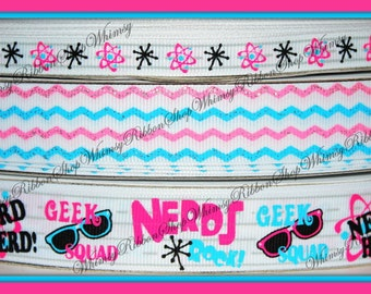 New 1, 2, 3, 4 or 5 Yards 3/8 or 7/8 NERDS Back to SCHOOL b2s or Glitter Waves on WHITE Grosgrain Ribbon Blue Pink Hair bows headband party