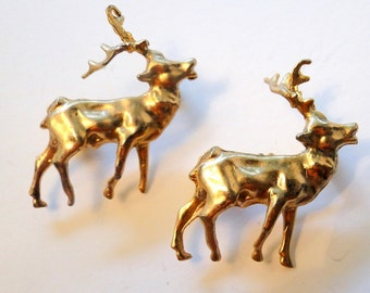 Reindeer Deer Two Scatter Pins Brooches Gold Tome Brooches Mid Century Pins