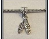 2 Feathers Dangle Charm - Fits European Style Bracelets