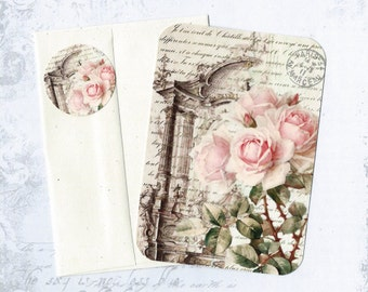 Roses, Flat Note Cards, Shabby Roses, Note Card Set, Stickers, Gift