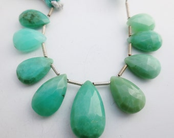 Chrysoprase Gemstone Faceted Briolettes - Qty 9