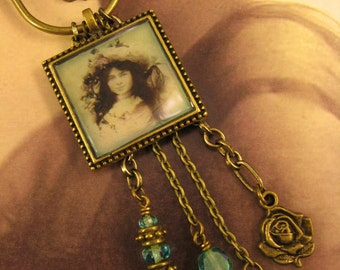 """Handmade Vintage Inspired Assemblage Charm Necklace, """"A Time of Innocence"""", Altered Art, Vintage Photo, Mixed Chains"""