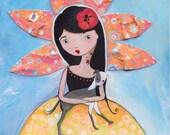 Italian Greyhound Art Mon Petit Fille Girl Art Print