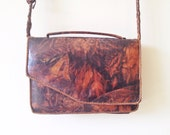 Vintage Marbled Leather Crossbody Shoulder Bag - Asymmetric Hand Stitched Purse