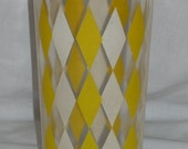 Vintage Mid Century Yellow Diamonds Drink Mixer Shaker no lid