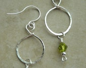 Hammered Silver Hoops with Green Crystal Bead