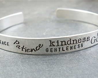 bible verse jewelry sterling silver - cuff bracelet - hand stamped fruit of the spirit