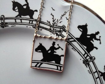 Broken china jewelry necklace equestrian horse made from an antique broken china plate