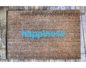 zen happiness doormat - turquoise- welcome rug