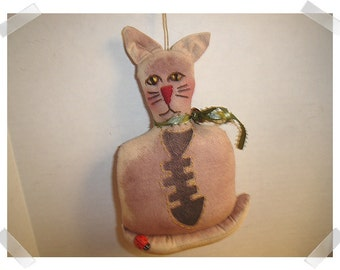 Cat Ornament/ Muslin Fabric /Hand Embroidered/ Handmade**