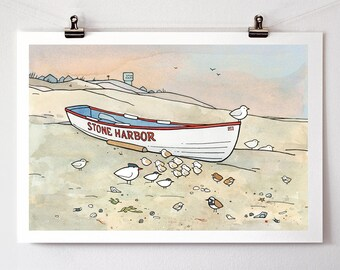 Beach shorebirds and sandpipers illustration print 13x19
