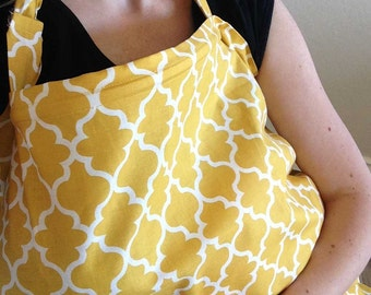 Nursing Cover - Yellow Stencil Print Nursing Cover Up - FREE US SHIPPING