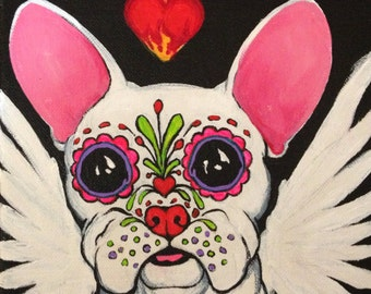 Dia de los Meurtos Frenchie 10 x10 inch print by Courtney Kelly