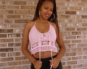 Hand Crochet Cropped top, cropped halter top, tank top, music festival clothing, clubwear, hippie festival top