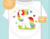 Rainbow Unicorn Shirt or Onesie, Girl's Unicorn Shirt, Rainbow Unicorn Theme (08282014c)