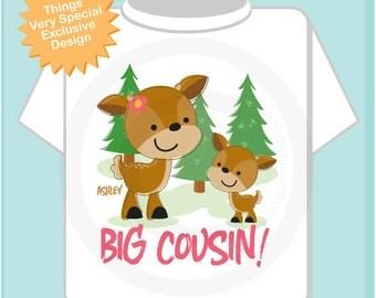 Personalized Big Cousin Woodland Deer Tee Shirt or Onesie, with baby deer (11112013c)