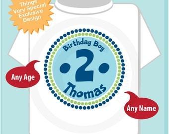 2nd Birthday Shirt, Two Year Old Birthday, Blue Birthday Shirt, Personalized Birthday Boy Circle Design Tee or Onesie Green Blue (04152014f)
