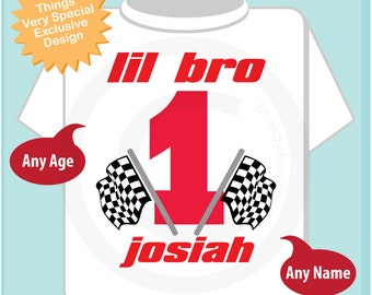 First Birthday Lil Bro Checkered Flag Racer Birthday Shirt Personalized Birthday Boy Racing Theme Tee Shirt or Onesie (06032014g)