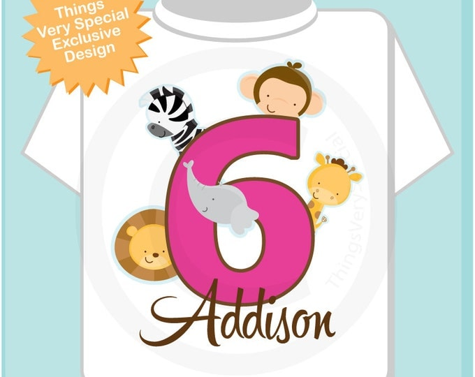 Six Year Old Jungle Birthday Shirt with Name, Sixth Birthday Shirt, Personalized Jungle Birthday Theme 01152014i