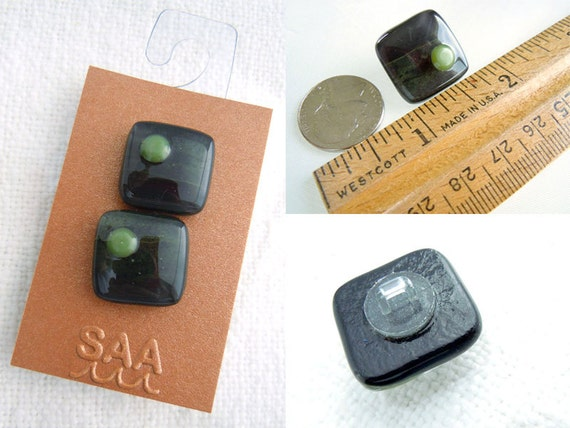 Fused Glass Buttons Quot Rain Forest Quot Art Button Greens